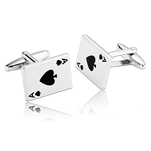 Adisaer Stainless Steel Cufflinks for Men Poker Cards Spades Ace Silver Black Business Wedding Cufflink (Ace Of Spade Boot)