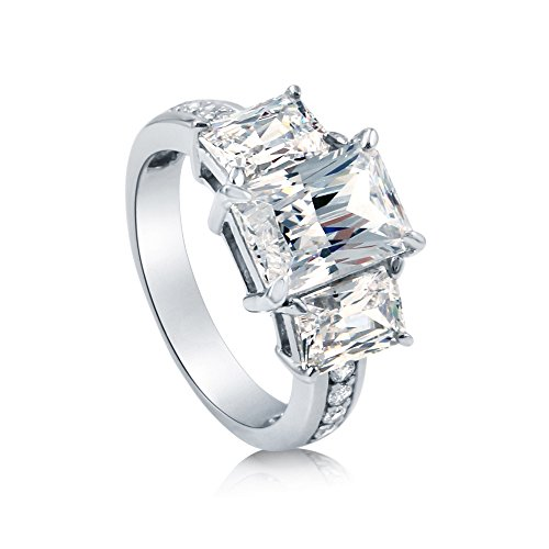 - BERRICLE Rhodium Plated Sterling Silver Radiant Cut Cubic Zirconia CZ Statement 3-Stone Anniversary Engagement Ring 5.43 CTW Size 6