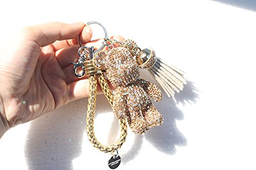 Teddy Bear Key chain Leather Rope with Tassel Sparkle Rhinestone Bear Pendants Key Ring Champagne Gold