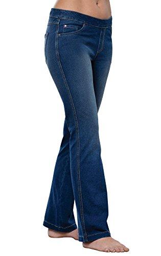 (PajamaJeans Women's Bootcut Stretch Knit Denim Jeans, Bluestone Wash, Small 4-6)