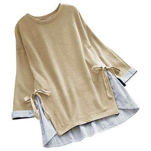 Matasleno Women Tops Women Solid Casual Chiffon Tops T-Shirt Loose Top Long Sleeve Blouse Beige