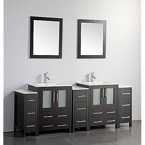 Vanity Art 84 Inch Double Sink Bathroom Vanity Set With Ceramic Top With  Free Mirror VA3024 84 E