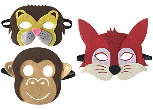 3 Piece Felt masks animal Halloween masks Dress-Up party accessory Parent-child game(Lion Fox Monkey)