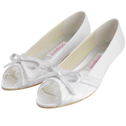 ElegantPark EL10009 Mujer Mini Tac¨®n Fiesta Zapatillas Cu?as Borde Arcos Sat¨¦n Zapatos De Boda Blanco - blanco