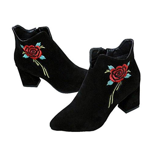 JIANGFU Beiläufige Stickerei Blumen weibliche Stiefel,Womens gestickte Leder Loafer Casual Mid Calf Stiefel High Heel Schuhe (36)