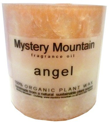 Mystery Mountain Large Chunky Angel Scented 100% Organic Plant Wax Handmade Vegan Natural Pillar Candles-Approx 50 Hour Burning time-3 inchx 3 inch, Peach, 7 x 7 x 7 cm 3