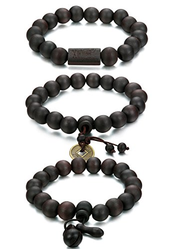 FUNRUN JEWELRY 3PCS 11MM Wood Bead Bracelet for Men Women Buddhist Mala Bracelet Elastic