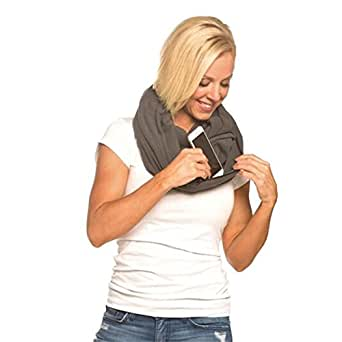 SHOLDIT Clutch Wrap - Scarf That's a Purse - Hidden Zipper Pocket - Grey Polar Fleece