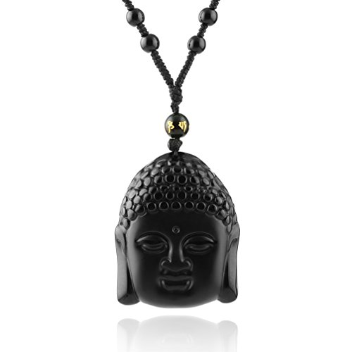 - HZMAN Jewelry Hand Carved Natural Genuine Obsidian Amitabha Buddha Pendant necklace (Buddha Head)