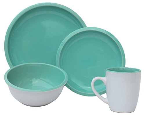 Melange 16 Piece Contempo Cantina 2-Tone Stoneware Dinner Set Place Setting, Serving for 4, Mint