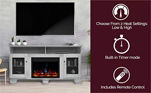 CAMBRIDGE Savona Heater with 59-in. White TV Stand, Enhanced Log Display, Multi-Color Flames, and Remote, CAM6022…