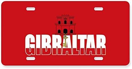 FerryLife - Placa de acero inoxidable para coche con bandera de Gibraltar: Amazon.es: Coche y moto