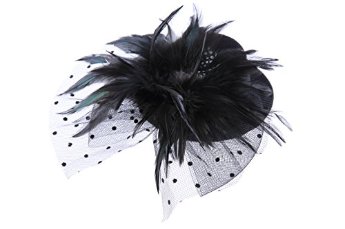 VGLOOK Mini Top Hat Fascinator Feather Dotted Veil (Black) by VGLOOK