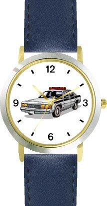 Police Car 2 - WATCHBUDDY DELUXE TWO-TONE THEME WATCH - Arabic Numbers - Blue Leather Strap-Size-Women's Size-Small