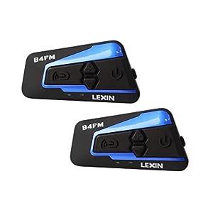 LEXIN 2x LX-B4FM 4 Way BT Interphone Bluetooth Motorcycle Helmet Intercom, Universal Wireless Headset, Motorbike Communication System with Speakers headphones for Motorbike Skiing for Rider