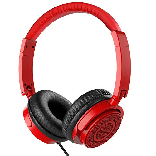 On Ear Headphones with Mic, Vogek Wired Foldable Bass Headphones with Volume Control and Microphone-Red