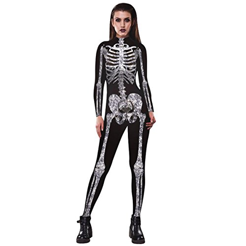 Halloween Human Skull Skeleton Bone Bodysuit 3D Print Funny Skinny Stretch Costume overall (Spandex Bodysuit Costume Ideas)