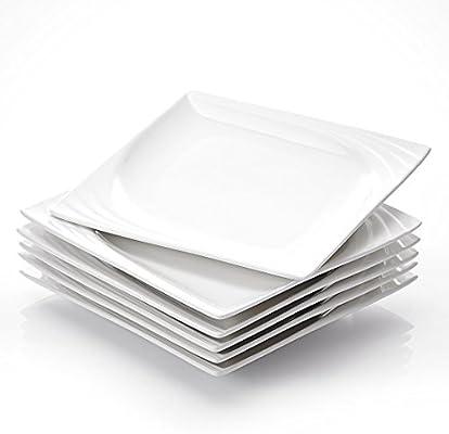 Series Mario 6-Piece 10.25 Ivory White Porcelain China Ceramic Cream White Dinner Plates MALACASA