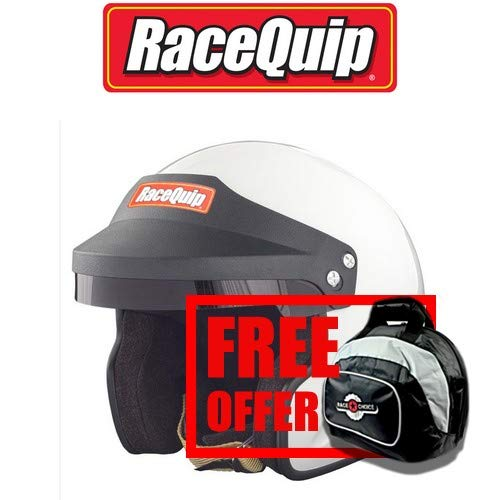 253113 RaceQuip OF15 Open Face Helmet Snell SA-2015 Rated; Gloss White Medium - Free Deluxe Helmet Bag Included ()