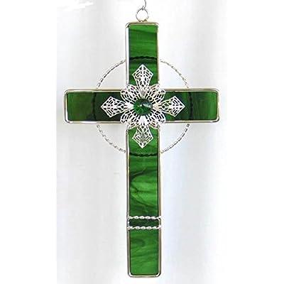 Stained Glass Filigree Cross - GREEN : Suncatchers : Garden & Outdoor