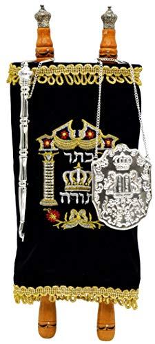 Torah Scroll Complete Sefer Torah Children's Torah, Medium Blue Velvet Torah - 13