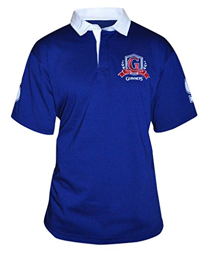 Guinness Men's Blue Short Sleeve Rugby Shirt with Red Logo (XL) (Guinness Rugby Beer)