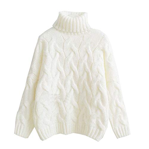 Onoti Molazo Women's Solid Chunky Knit Short Turtleneck Sweater White