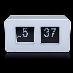EverTrust(TM) White Retro Auto Flip Clock File Down Page Clocks Classic Stylish Modern Desk Table Clock