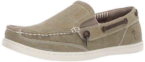 Margaritaville Men's Dock Chambray Slip On Canvas Boat Shoe, Vintage Khaki, 11.5 Regular US