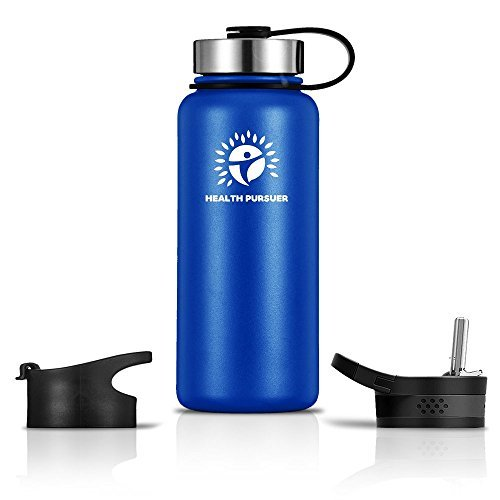 Stainless Steel Water Bottle/Thermos:18-64 oz 8 colors Double Wall Vacuum Insulated:Wide Mouth Metal Travel Tumbler:Heavy Duty Reusable BPA Free Twist Lid Bottle for Hot/Cold Liquid: Bonus-2 Lids