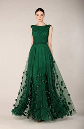 Formaldresses Emerald Green Prom Dress Formal Evening Gown for Women Plus  Size with Flower Beads (US Size 16, Emerald Green)