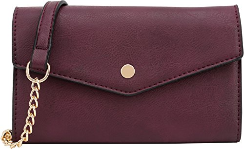 Lily Jane Women's Clutch Crossbody Wallet with Chain Strap (Wine) by Lily Jane