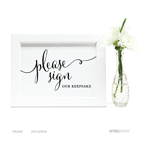 Andaz Press Wedding Framed Party Signs, Formal Black and White, 5x7-inch, Please Sign our Keepsake Table Sign, 1-Pack, Includes Frame