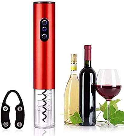 TETHYSUN Abrebotellas de vino Sacacorchos eléctrico Abrebotellas de vino eléctrico y automático Sacacorchos automático con cortador de papel de aluminio Abrebotellas de vino - C (color: A)