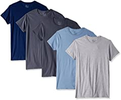 Fruit of the Loom men's crews work great alone or to add an extra layer under a button down or polo shirt. This shirt eliminates ride up, it stays neatly tucked so you can go about your busy day with confidence. They are designed to maintain ...