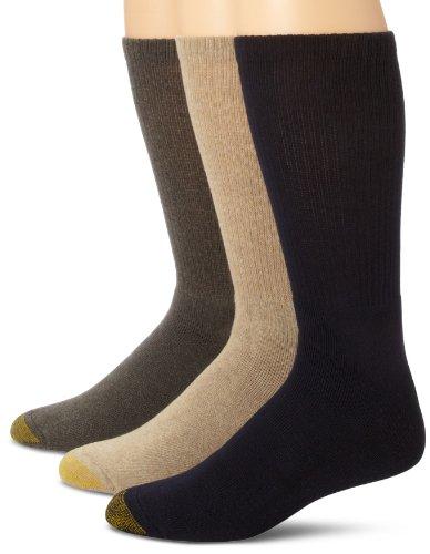 Gold Toe Men's Uptown Crew Three-Pack, Khaki/grey/navy, Sock Size 10-13/Shoe Size 6-12.5