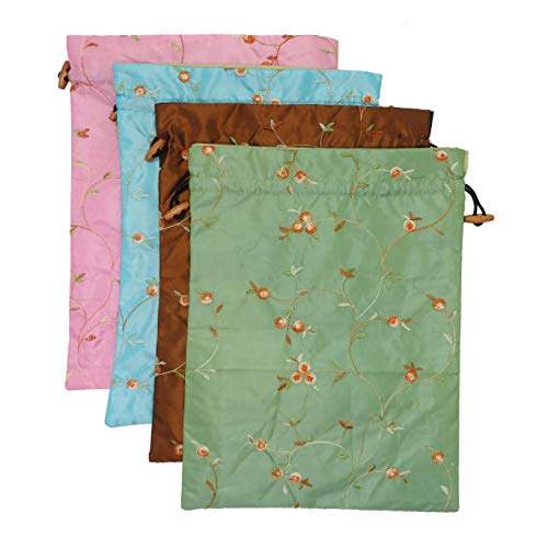 Ouyatoyu 4pcs Embroidered Silk Flower Design Jacquard Travel Bag, Laundry Bags Shoe Bags, Lingerie Bags Underwear Bags for Travel Storage for Men Women Washable Cloth Shoe -
