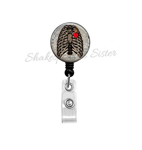 Rib Cage Badge Reel - Radiology Badge Reel - X-Ray Tech ID Holder - Nurse Badge Reel - Teacher ID Holder - Human Anatomy