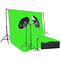 Fancier Chromakey Green Screen Kit 1000 Watt Video Lighting Kit Photo Studio Kit Umbrella Softbox Kit
