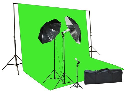 Fancierstudio Chromakey Green Screen Kit 1000 Watt Video Lighting Kit Photo Studio Kit Umbrella Softbox Kit By Fancierstudio by Fancierstudio