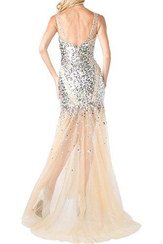 Milano Bride Luxurioes Champagner Steine Damen Abendkleider Ballkleider Festliche Kleider Lang Meerjungfrau Still