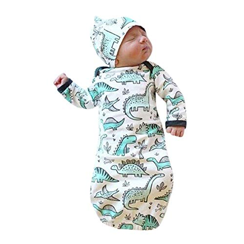 C&M Newborn Infant Baby Girls Boy Cartoon Dinosaur Pajamas Gown Swaddle Hats 2Pcs Outfits (White, 0-6 -