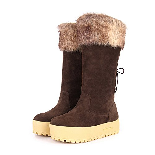 Womens Solid Kitten with Closed Inside US Toe B 7 Boots 5 Bandage Heels Heighten AmoonyFashion M and Round Brown dFndq