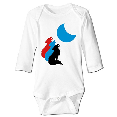 [NINJOE NewBorn Three Wolf Moon Long Sleeve Romper Bodysuit Outfits White 18 M] (Big Bad Wolf Outfit)