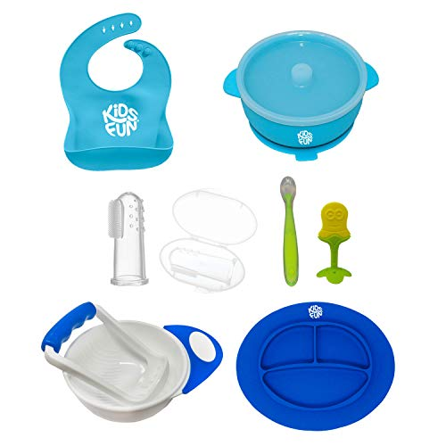 Baby Feeding Set | Silicone Bib, Plate Suction, Bowl with Lid, Soft Spoon, Mash bowl, Toothbrush and Teether | BPA Free Waterproof Easy Clean | 8 Pieces
