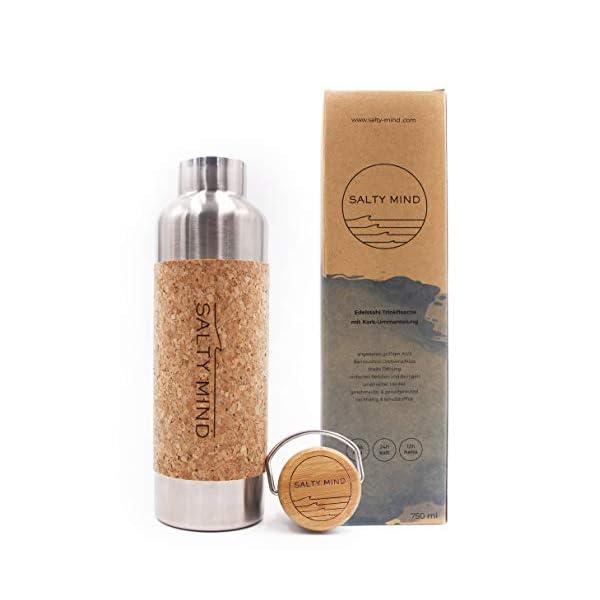 Salty Mind nachhaltige, isolierte Edelstahl Trinkflasche 750ml - Thermo Wasserflasche, auslaufsicher, schadstofffrei…