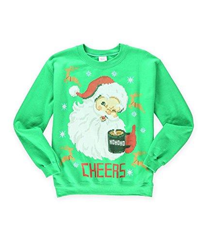 Gildan Mens Cheers Santa Sweatshirt Kellygreen S