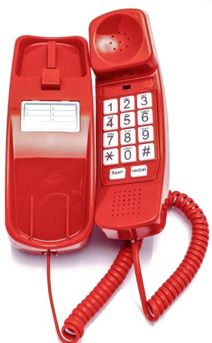 Trimline Phone - Crimson Red - Durable Retro Novelty Telephone - An Improved Version of the Princess Phones in