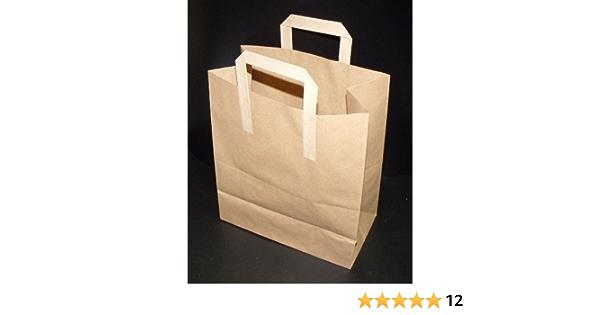 10 Large Brown SOS Kraft Takeaway Food Party Gift Paper Flat Handle Carrier Bags