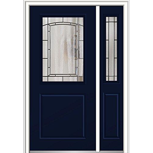 National Door Company Z029884R Fiberglass Smooth, Naval, Right Hand In-Swing, Exterior Prehung Door, Solstice 1/2 Lite 1-Panel, 36